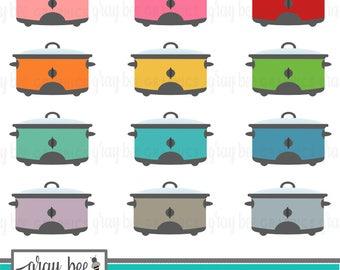 SALE! Crockpot-Slow Cooker- Clipart Set, Commercial Use, Instant Download, Digital Clipart, Digital Images- MP200