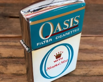 10 Oasis Cigarette Lighters / Vintage Never Used Advertising Cigarette Lighters in Original Boxes/ Continental / Lot