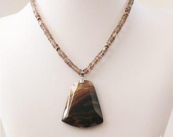 Smoky Quartz necklace. Smoky Quartz big pendant, Smoky Quartz button beads, Sterling Silver beads. Brown beads. Gemstone pendant