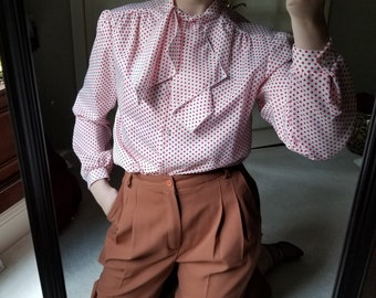vintage dot blouse with tie collar s-m