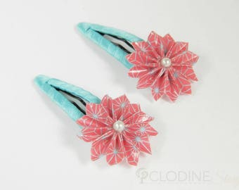 2 Origami pink flower hair clips, Origami flower, Origami jewelry, Nature, Cute, Hair clips, Origami barrette, Paper, Toddler, Gift, Unique