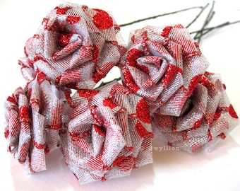 Glittery Silver Red Polka Dot Rose Bouquet