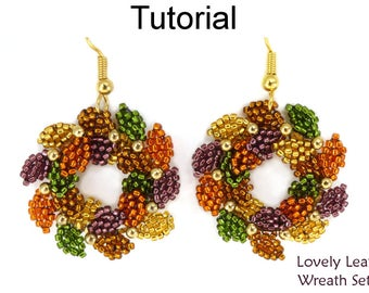 Beaded Wreath Beading Pattern - Christmas Holiday Jewelry Making - Earrings Necklace - Simple Bead Patterns - Lovely Leaf Wreath Set #16575