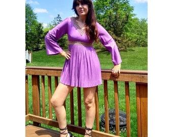 60s jewel tone mini with bell sleeves gold trim pleated skirt purple bohemian mod twiggy
