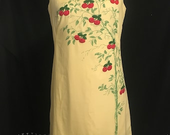 60s a-line shift dress canary yellow cherry tree silk screen embroidered Serbin