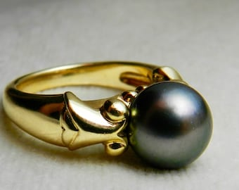 Mikimoto Black Pearl Engagement Ring 9.7mm Tahitian Pearl Mikimoto Pearl Ring 18k yellow Gold Pearl Ring Black Pearl Ring