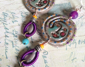 Peasant* Woman...Bohemian Earrings, Unique, Artisanmade, Coiled Wire, Bold, Funky, Faces, Woman, Peasant, Aztec, JustSlightlyVintage