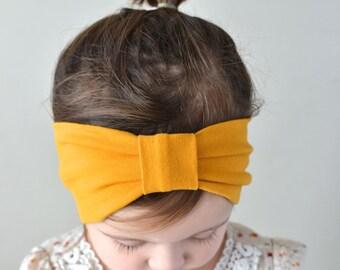 Mustard Headband, Baby Headwrap, Turban Headband, Wide Headband, Adult Turban Headband, Boho Headband