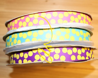 """7/8"""" grosgrain ribbon, 3 yards, Yellow Silly Dots, USDR"""