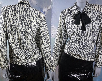 1980s Leopard Print Blouse, Cream Black Animal Print Top w Padded Shoulders and Bow: 12/14 US, 16/18 UK