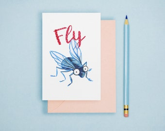 Fly Illustration Print - Animal Postcard, Animal Print, Alphabet Card, Insect Postcard, Cute Greeting Card, Art Print, Wall Art