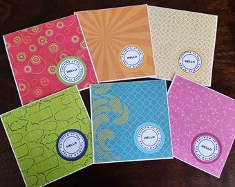Thinking of You Mini Note Cards; Hello; Stationery Set; Inspirational Bright Colors