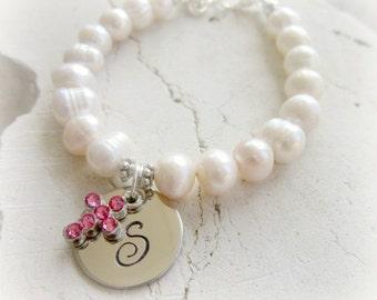 Girls Baptism Gift.Pink Crystal Cross Bracelet.Personalized Girl's First Communion Gift.Girls Genuine Pearl Bracelet.Christening Jewelry