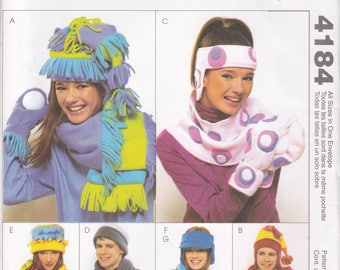 FREE US SHIP McCall's 4184 Hat Scarf Headband Hat Men Miss Mittens Fleece Sewing Pattern Uncut New