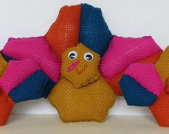 Turkey Stuffed Toy and Throw Pillow --- Hexagon Pin Loom Weaving Pattern
