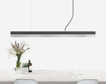 Pendant light [C1]dark/stainless steel rectangular stainless steel and concrete