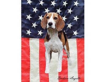 Beagle Flag, Beagle Gift, Beagle Patriotic Flag, Beagle American Flag, Beagle Art, Beagle