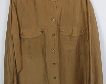 Vintage silk shirt, 90s clothing, light brown, shirt 90s, long sleeves, oversized