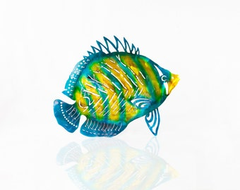 Metal Fish Wall Art, Butterfly Fish, Outdoor Wall Art, Angelfish Decor, Aluminum Art, Ocean Decor, Beach House Decor, Pool Deck Art