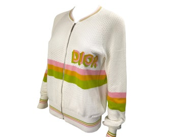 CHRISTIAN DIOR Rare Vintage Dior Logo Knit Bomber Jacket White Racing Stripe Zip Sweater Top Cardigan