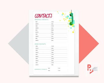 CONTACTS Happy Planner Printable Insert, Create 365, Happy Planner Inserts, Happy Planner Classic, MAMBI Planner, Instant Download