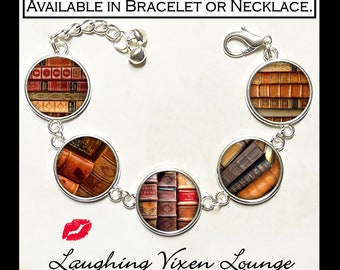 Vintage Books Jewelry - Library Book Bracelet - Book Lovers Gift - Book Necklace - Literary Gift - Photo Charm - Style A
