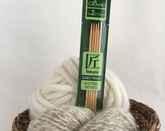 "Clover Takumi Premium Bamboo DP Double Pointed Knitting Needles - Size 2 (2.75mm, UK 12) -  7"" - Set of 5"