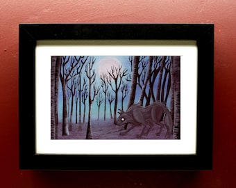 Forest Wolf archival Print in 4 by 6 Inch Black Frame