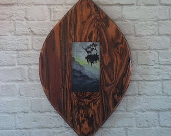 "Original Miniature Painting, ""Life on Pandora"", Acrylic on Canvas, Custom Exotic Hardwood Frame"