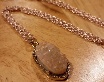 Blush Druzy Necklace, Rose Gold Necklace, Crystal necklace, Druzy necklace, blush necklace, peach druzy necklace, gift for her, Valentine's