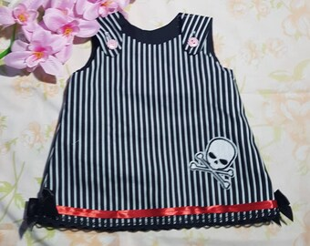 Pirates life dress, Rockabilly aline baby dress in black white and red.