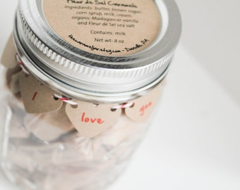 2 x Fleur de Sel Caramels - 1/2 lb in an - I Love You Mason Jar