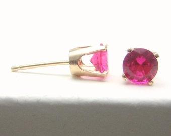 Ruby 14K Gold Stud Earrings - Gold Earrings - 3 mm 4 mm 5 mm - Post Earrings - Ruby Earrings - Birthstone Earrings - Solid 14K Gold