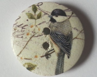 Pack of 15 Wooden Wildlife Craft Buttons - Garden Birds - Great Tit - 18mm 25mm