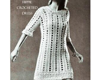Digital Download FAB 60's Crocheted Hippie Dress Pattern - Sz 10-16 Flower Child Era Dress PDF File Crochet Pattern Crochet Supplies
