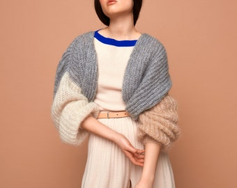 bomber jacket, grey, cream, camel, SABRINA WEIGT, knitwear, mohair, knitted bomber jacket, chunky knit, oversized knit, cardigan,mohair knit
