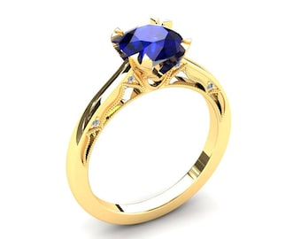 Blue Sapphire Engagement Ring 1.50 Carat Blue Sapphire And Diamond Ring In 14k or 18k Yellow Gold. Matching Wedding Band Available W22BUY