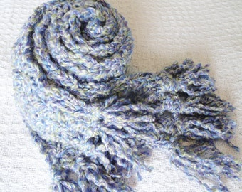 Lavender Fields Purple Crocheted Scarf with Fringe By Distinctly Daisy