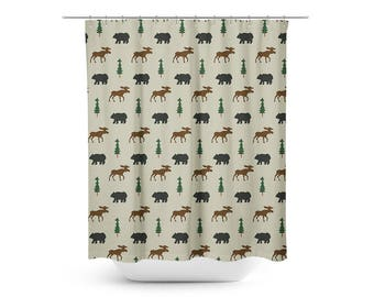 Bear And Moose Woodland Shower Curtain, Camping Log Home Rustic Bathroom Shower  Curtains, Rustic Woods Bathroom Decor MADE TO ORDER