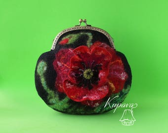 Kiss lock bag, Black red felt handbag, Poppy wool metal frame purse, Vegan clutch, Art women handbag, Floral clasp bag, Mother gift purse