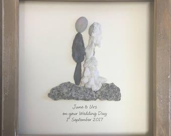 Wedding gift, Personalised, Pebble Art, unique gift, personalised, Pebble picture, rustic, home decor, stone, OOAK, wall art, beach, seaside