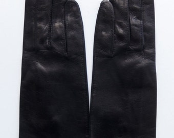 Vinage Women's Genuine Leather Gloves Black by Madova Made in Italy Size 6.5 / 7 MINT NOS