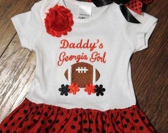 Georgia, Georgia Bulldogs, baby shower gift, new baby gift, baby girl gift, baby girl clothes, bodysuit, football, daddy, red, black, baby