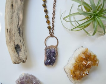 Amethyst Druzy & Electroformed Copper Necklace with Tiger's Eye Beading
