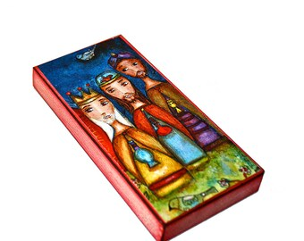 Wise Men Nativity -  Giclee print mounted on Wood (3 x 6 inches) Folk Art  by FLOR LARIOS