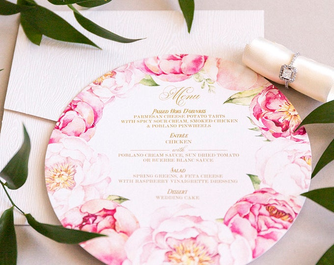 6x6 Garden Flowers, Blush Pink and Gold Floral Circular Circle Printed Wedding Menu