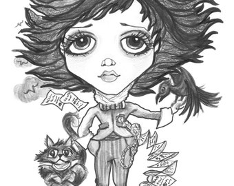 Adult Coloring Page - Grayscale - Printable Page- Digital Download - Halloween Fantasy Art- Annabelle Lee by Leslie Mehl Art