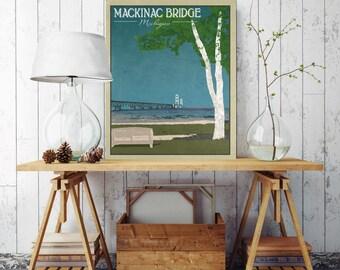 Mackinac Bridge Michigan, Bridge Canvas Print, Michigan Bridge, Mackinaw Bridge, Vintage Wall Decor, Vintage Style Poster, Michigan Tourism