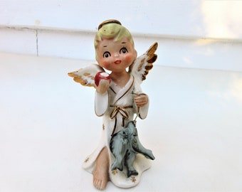 Vintage Angel Figurine | Napcoware Japan Angel | Sports Series Angel | Fisherman Angel | National Potteries