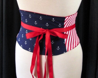 Nautical Corset Belt / Navy and Red Belt / Anchors and Stripes / Steel Boned Corset / Underbust Waist Cincher / Red White and Blue Costume